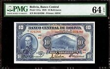 1928 Bolivia 10 Bolivianos Banco Central de Bolivia PMG64EPQ Choice Uncirculated