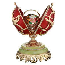 Decorative Faberge Egg with Basket of Flowers 8.7'' (22 cm) red