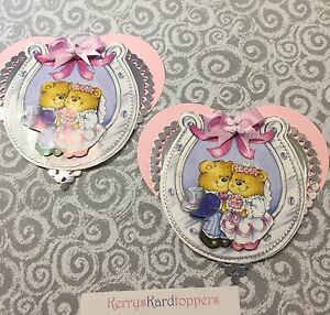 2 x Decoupage Pictures of Wedding Theme Toppers