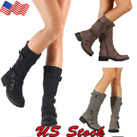 Women's Ladies Low Heel Mid Calf Boots Buckle Leather Casual PU Zipper Shoes