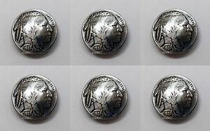 "Set of 6 BUFFALO NICKEL INDIAN HEAD REPRODUCTION COIN CONCHOS 7/8"" screw back"