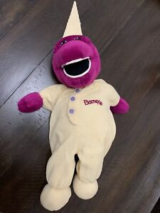 "Vintage 16"" Plush Barney Dinosaur In Long Johns Yellow Thermal Pajamas bedtime"