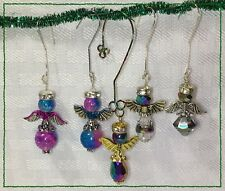Lot Of 5 Handcrafted Pink Blue Silver Gold Miniature Christmas Angel Ornaments