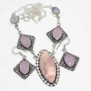 Rose Quartz Pink Chalcedony 925 Silver Plated Handmade Necklace Earrings Set GW