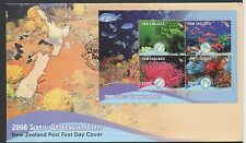 New Zealand 2008 FDC Scenic Underwater Reefs MINISHEET set stamps