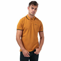 Mens Ben Sherman Twin Tipped Polo Shirt In Gold- Short Sleeve- Ribbed Collar And