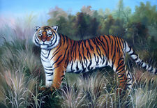 """Hand Painted Tiger Oil Painting on Canvas Wall Decor Art Sz 36"""" x 24"""" Unframed"""
