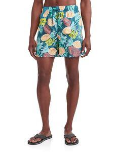 "George Men's Swim Trunks Shorts Size 2XL (44-46) Jungle Pineapple  6"" Inseam"