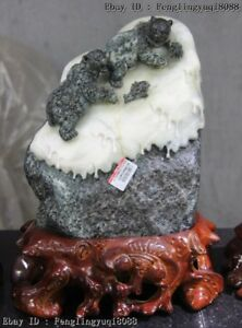 "12"" Chinese Art Sculpture Natural Dushan Jade Two Black Bear Catch Fish Statue"
