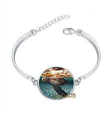 Sea Turtle Under Water Bracelet Photo Glass Cabochon Tibet silver Bracelets