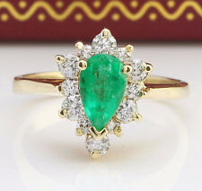 1.75CTW Natural Colombian Emerald and Diamonds in 14K Solid Yellow Gold Ring