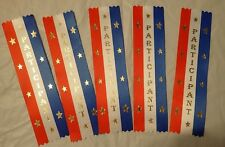 "Lot of 5 Participant Red, White & Blue Award Ribbons 2"" x 8"""
