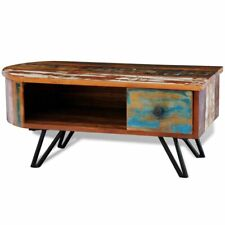 Rustic Coffee Table Reclaimed Solid Wood Living Room Cocktail Table Iron Pin Leg