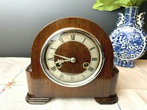 Restored Beautiful Shiny Smiths/Enfield 1950s Art-deco Style Striking Clock, KEY