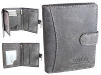 Herren Geldbörse Leder Geldbeutel für Männer Portemonnaie mit Riegel RFID Schutz