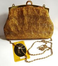 GP Prestige gold beaded evening bag clutch cross body
