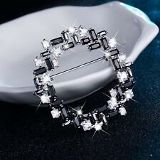 FASHION ATTITUDE 18k white gold gp made with Swarovski CZ crystal brooch black