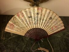 Early 20c Japanese Hand Painted Hand Fan Geishas, Landscape