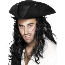 Black Pirate Tricorn Hat Studs Buccaneer Adults Mens Fancy Dress Accessory