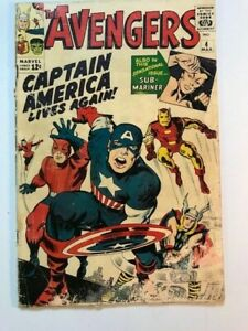 AVENGERS  # 4 , HUGE CLASSIC , CHEAP PRICE , UNRESTORED , COMPLETE.