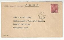 1943 Bella Coola Canada to Vancouver BC OHMS 4c Perfin Indian Agency