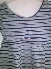 Oh! Mamma Maternity Striped Babydoll Tunic Navy Blue,Gray SZ LARGE NWT