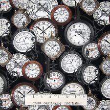 Railways Express Fabric - Train Station Clocks Black - Benartex Kanvas YARD