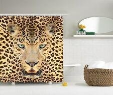 Wild Jungle Tiger Graphic Shower Curtain Safari Leopard Animal Print Bath Decor