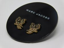 Marc Jacobs Crystal Embellished Owl Stud Earrings studs Antique Gold-Tone