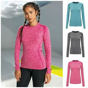 Ladies Seamless Long Sleeve T Shirt Top Wickable Breathable Running Training Gym