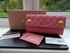 100% Authentic Miu Miu Pink Quilted Leather Purse Wallet Det Card Holder BNIB