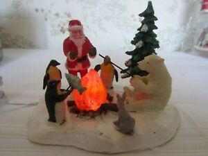 "LEMAX Illuminated Tableau Scene ""Fireside Fun"" used VGC Christmas Animation"