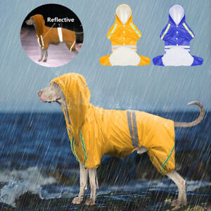 Waterproof Dog Raincoat with Legs for Large Dog Reflective Rainwear Yellow S-2XL
