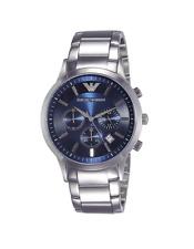 New Emporio Armani Classic Silver Blue Chronograph Dial AR2448 Men's Watch