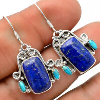 Natural Lapis and Turquoise 925 Sterling Silver Earrings Jewelry AE26833