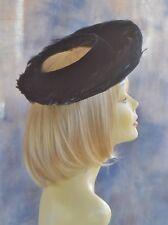 Vintage Ladies Hat Open Crown of Black Feathers Rolled Brim Black Cocktail Party