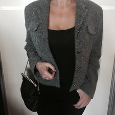Iconic Versace Couture Bondage Grey Wool Tweed Jacket 48 UK14 16 net a porter
