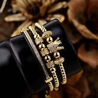 3Pcs Luxury Women Men's Micro Pave CZ Crown Braided Adjustable Bracelets Gifts