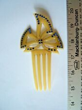 Art Nouveau Celluloid Rhinestone Bow Style Hair Comb Antique Free Shipping