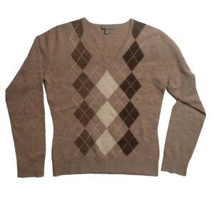Apt. 9 Women's Cashmere Sweater Size M Medium Brown Argyle V-Neck 100% Cashmere