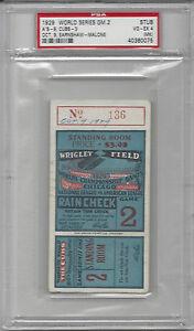 1929 World Series ticket stub Philadelphia A's Chicago Cubs Gm 2 PSA 4 Stand. Rm
