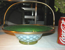 ANTIQUE LCT TIFFANY FURNACES FAVRILE # 507 GREEN PASTEL DIAMOND BRONZE BASKET
