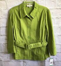 Jones New York Sport Women's Jacket Large Stretch Green Belt Button Long Sleeve