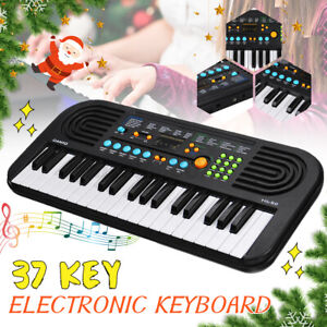 37 Key Electronic Keyboard Electric Digital Piano Organ Black Music Kid Gift US