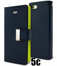 for iPhone 5C - NAVY Leather Case Magnetic Multi Cards Wallet Pouch Folio Cover