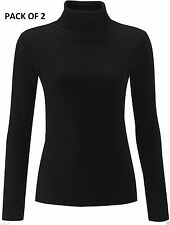 SEXY WOMEN LADIES BLACK RIBBED POLO ROLL PACK OF 2 HIGH NECK STRETCH JUMPER TOP