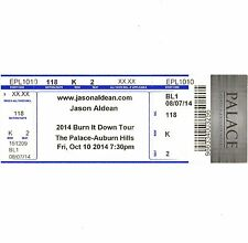 JASON ALDEAN & FLORIDA GEORGIA LINE Concert Ticket Stub 10/10/14 AUBURN HILLS MI