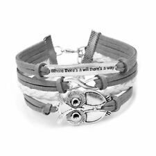 Unendlichkeit Eule Freundschaft Leder Charm Armband inklusive box