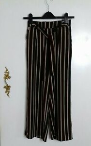 New Look Black & Beige Striped Tie Waist Cropped Wide Leg Trousers Size 6
