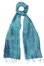 Teal and Navy Pure Silk Scarf - Fair Trade BNWT 180cm x 80cm **LAST ONE**